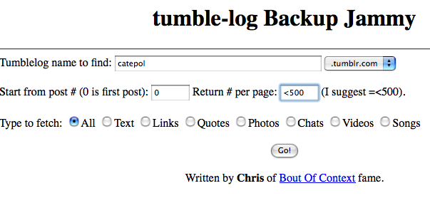 Tumble-log Backup: fai il backup del Tumblr