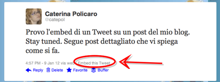 Twitter: inserire tweet nei post del blog