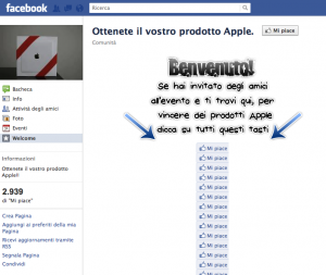 Apple non regala prodotti da Facebook